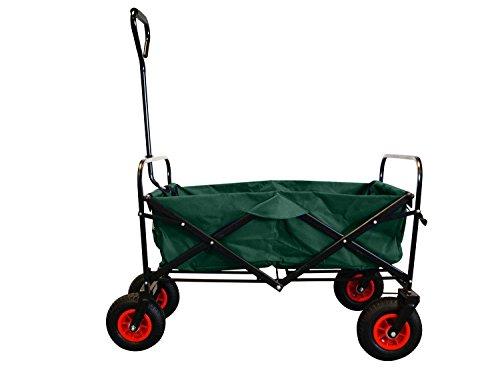 MAXOfit Bollerwagen in grün, robuster, faltbarer Handwagen mit Luftbereifung inklusive Schutzhülle