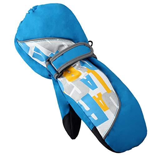Stynice Handschuhe Kinder Wasserdichte und Winddichte Warm Fäustlinge Skihandschuhe Jungen Mädchen für Outdoor Sport, Blau, One size(Age6-8)