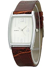 Dk Mens & Womens Analogue Slim Brown Leather Strap Rectangle Slim Case Wrist Watch (BOL01320)