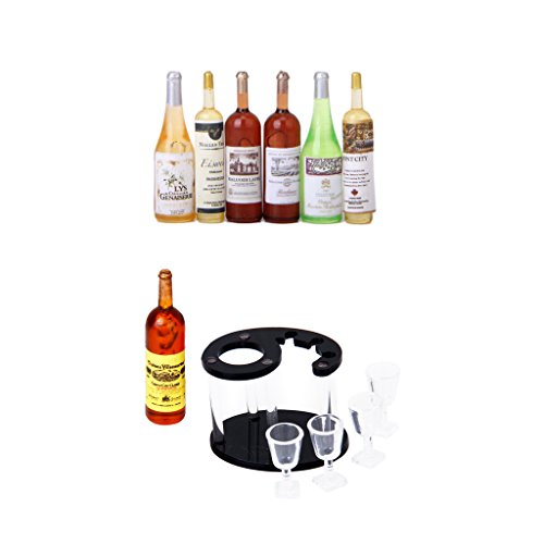 P Prettyia Mini Wein Bier Champagner Flasche & Wein Regal Rack Für 1/12 Puppenstube Esszimmer Küche Deko -