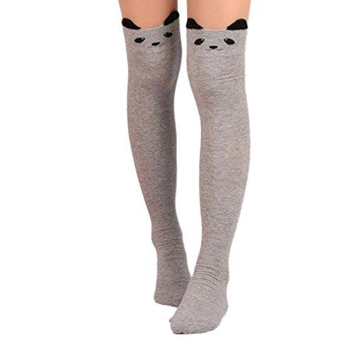 Vidlan Damen Katze Karikatur Socken Lange Socken über Knie hohe Socke (Grau)