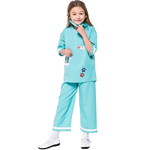 LOLANTA Mädchen Arzt Dress Up Tierarzt Rollenspiel Halloween Kostüme Karrieretag Outfit