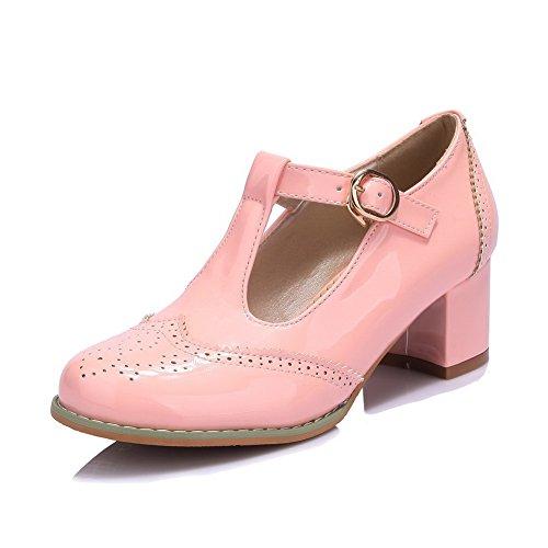 Damen PU Leder Rein Schnalle Spitz Zehe Mittler Absatz Pumps Schuhe, Pink, 35 VogueZone009