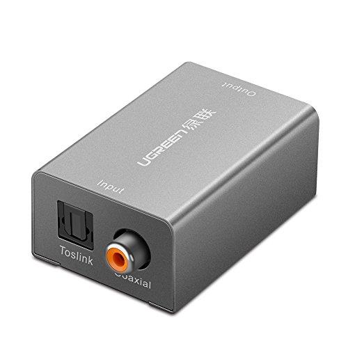 UGREEN Audio Konverter Digital zu Analog Audio audio adapter Wandler Toslink und Koaxial zu 3.5mm Aux Buchse Audiowandler mit Netzteil aux adapter für Laptop,Fernsehehen, TV BOX, DVD, HDTV, Kopfhörer, PS3,PS4,Speaker usw