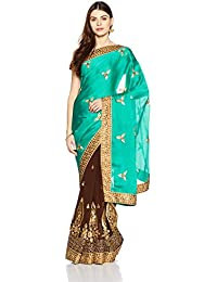 Womanista Women's Faux Satin & Georgette Sari With Blouse Piece(FS9074_Blue And Brown_Free Size)