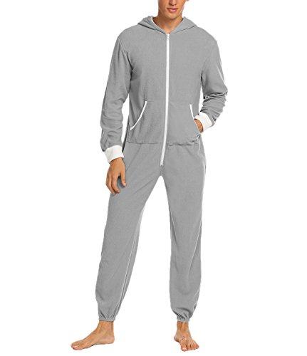 ADOMES Jumpsuit Herren Schlafanzug Jogger Jogging Anzug Trainingsanzug Overall Einteiler Schlafoverall Langarm Pyjama mit Kapuze Schwarz Grau