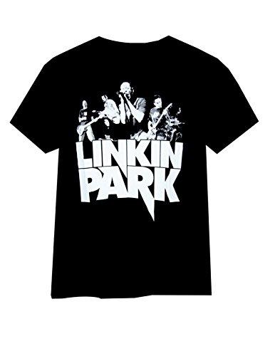 Buffini Linkin Park Herren Schwarz T-Shirt Weiß (white logo)