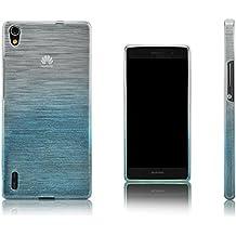 Xcessor Transition de Color Funda Carcasa Para Huawei Ascend P7. Flexible TPU Gel Con Gradient Hilo De Seda Textura. Transparente / Azul Claro