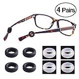LUFF 4 Paare rutschfeste Befestigungsvorrichtung für Brille, weiches Silikon rutschfest Halterung-Brille, elastisch und bequem Sonnenbrille Lesebrille Ohrstöpsel/Haken (Round)