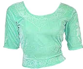 Doux Vert Choli haut en velours ideal avec un sari Size S
