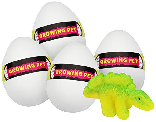 com-four® 4 Dinosaurier in verschiedenen Varianten schlüpfend aus weißen Eiern (Dinosaurier können variieren) (04 Stück - Dino-Ei)