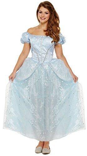 Damen Lang Blau Prinzessin Halloween Märchen Junggesellinnenabschied Kostüm Kleid Outfit UK (Erwachsene Kostüme Prinzessin Halloween Für)
