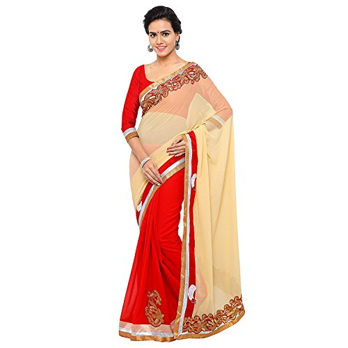 Sarees (Welcome Fashion Women\'s Clothing Georgette Beige Color Bollywood Style Designer Wear Low Price Sale Offer buy online in Georgette Net Material New Beige & Red Color Designer Free Size Beautif