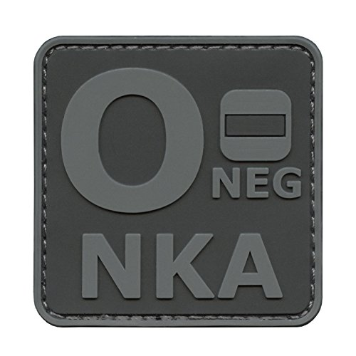 Image of Subdued ACU ONEG O- NKA Blood Type No Known Allergies Tactical Morale PVC Rubber Hook-and-Loop Patch