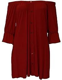 Be Jealous Womens Fake Buttons Stretc Off Shoulder Elasticated Peplum Dress Mini Top