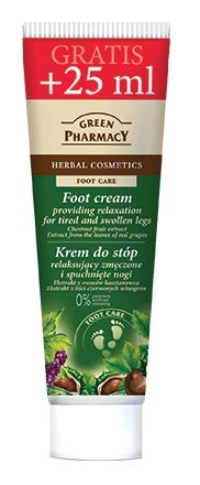 Foot-Cream for Relaxing Tired and Swollen Legs with Extracts of Chestnut-Fruit & Red Grape Leaves – Cruelty-Free / Free from Parabans & Artificial Colouring – 75ml + 25ml Gratis