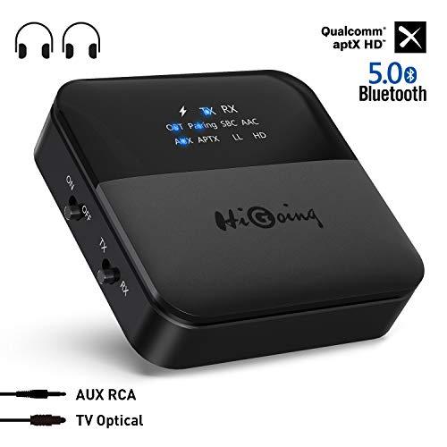 HiGoing Bluetooth 5.0 Transmitter Empfänger mit Anzeige, Digital Optisches TOSLINK/SPDIF, RCA und 3.5mm Kabellos Audio Adapter, aptX HD für Kopfhörer, Heim Stereoanlage und Auto Soundsysteme etc
