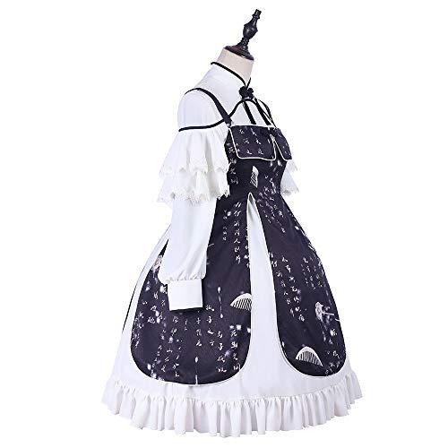QAQBDBCKL Original Design Lolita Frauen Kleid Baumwolle Kurzarm Süße Kleid Erwachsene Kostüm Cosplay Karneval Lotus Blatt Spitze Lolita Kleid