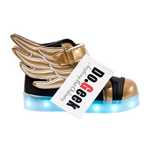 DoGeek Scarpe Led Bambino Scarpe Con Luci Luminosi Sneakers Con Luce Nella Suola Bright Tennis Scarpe Ali USB 7 Colori Lampeggiante Trainners Oro