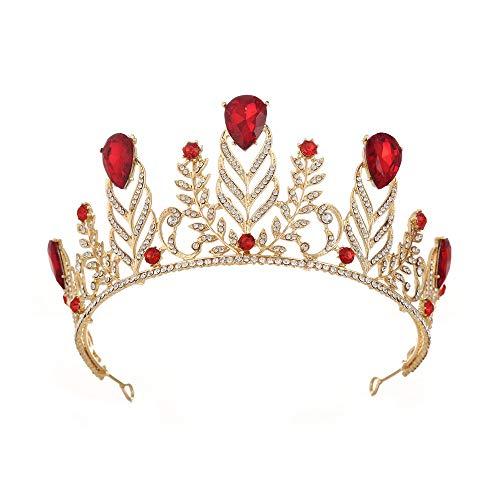 Brautkrone Krone-Tiara-Abschlussball-Königin-Krone Quinceanera Festzug-Kronen-Prinzessin Crown Rhinestone-Kristallbraut krönt Tiaras für Frauen Hochzeit Ball Strass Krone Kopfschmuck ( Color : Red ) -
