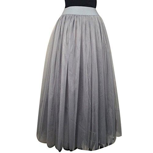 EFINNY Frauen Tulle Dance Rock Hohe Taille Plissiert Sheer Mesh Party Maxi Röcke - Black Velvet Sheer