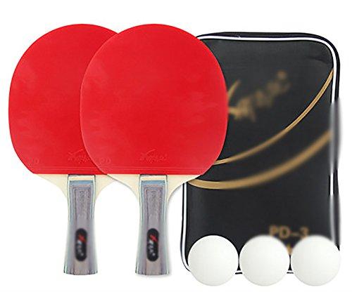 xianw Professionell Freizeit Spiel Racket,Praxis Ausbildung bat, Ping Pong paddel - 2 pro Premium-Tischtennis-SCHL?ger-Set,3 Kugeln,Zubeh?r zu bündeln Portable kit Cover case Tasche-B