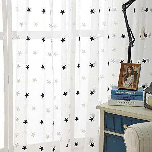 PENVEAT Moderne Stern stickte weiße Gardinen für Wohnzimmer Schlafzimmer Küche Tüll Vorhänge Kinder Baby-Raum-Tür-Fenster-Vorhänge, Navy Blue Stars, W100xH160cm, Tab Top -