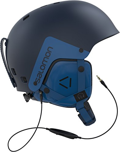 Salomon, Casco de esquí y snowboard para snowpark para hombre, Carcasa ABS, Interior de espuma EPS, Sistema de audio con cable incluido, Talla S, Circunferencia 55-56 cm, BRIGADE AUDIO, Azul marino, L39915200