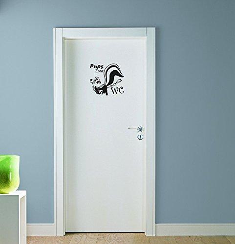 Stinktier Wandtattoo Pups Zone WC Badezimmer Toiletten Türaufkleber Sprüche 20×19 cm schwarz