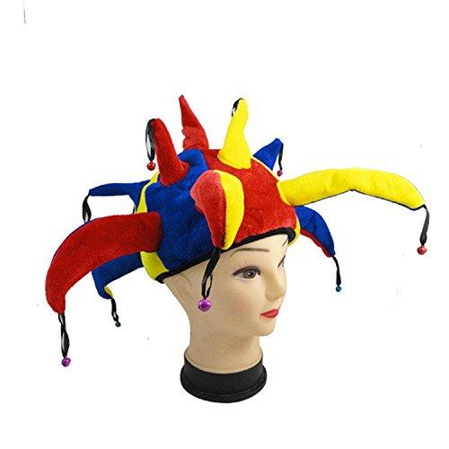 Clown Mütze Hofnarr Glocken Hut mit bommeln bunt mehrfarbig aus weichen Stoffbezug...