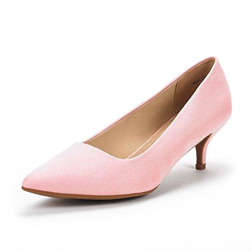 DREAM PAIRS Moda Zapatos Tacón Bajo Pump Mujer Rosa