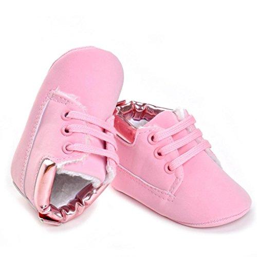 Hunpta Baby Kleinkind weiche Sohle Leder Schuhe Baby Junge Mädchen Schuhe aus Baumwolle (Alter: 12 ~ 18 Monate, Weiß) Rosa