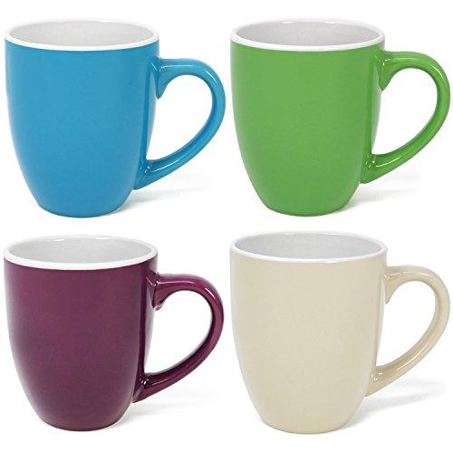 COM-FOUR® 4x Kaffeebecher Set aus Keramik, bunte Kaffeetassen, Kaffeepott in verschiedenen Farben, 300 ml (04 Stück - bunt)