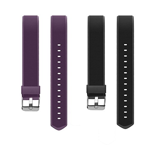 YiYunTE ID115Plus HR Replacement Strap - Adjustable TPU Replacement Bands For 115 Plus hr Smart Bracelet Fitness Trackers(Black+Purple)
