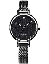 7082a39b48f5 WOFEIYL Moda Mujer Reloj japonés Movimiento Impermeable Malla metálica con  Diamantes