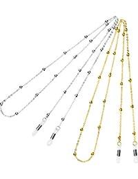 2 Piezas de Cadena de Gafas Cuerda de Gafas de Abalorios Retenedor Correa de Gafas de Sol, Dorado y Plateado