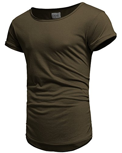 Crone Herren Kurzarm Rundhals Basic Oversize Slim Fit T-Shirt (M, Vintage Grün)