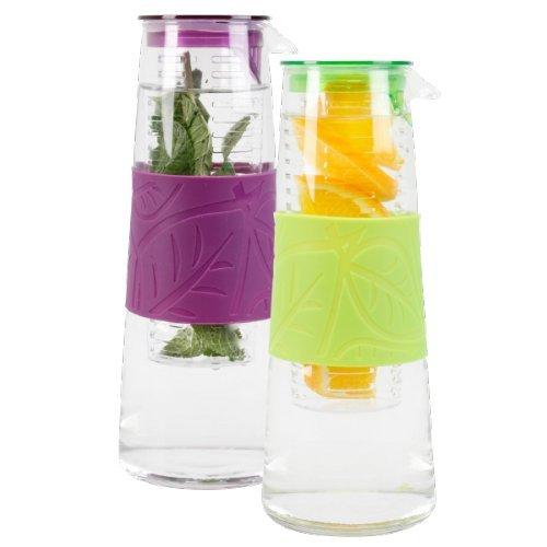 Wasserkaraffe 1L GlasKaraffe Kunststoff Krug Ausgiesser mit Obstfilter Einsatz Ver. Farben