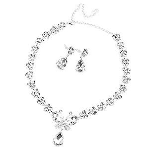 Braut Hochzeit Schmuck Kristall Halskette Ohrringe Einstellen Schmetterling  lang Anhänger