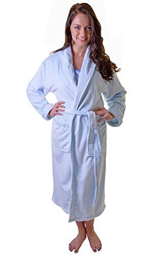 Womens Luxuriousy Soft Coral Fleece longtemps pleine longueur Robe de bain, s'habiller robe avec ceinture et poches Baby Blue