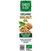CHEFS & CO Aceite de nuez prensado en frío orgánico (sin refinar) -250ml | presionar suavemente en frío sin productos químicos | Calidad superior 100% natural | Sin conservantes, sin aditivos, recién sellado | Rico en Omega-3 y Omega-6 y fitonutrientes | Vegano | Sin gluten | No GMO