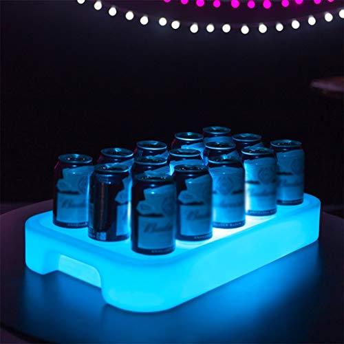 Serviertablett Kunststoff Rechteck 16 Farbe Veränderung Wiederaufladbar Fernbedienung Glühend Tablett zum Party Bar mit Griff (Farbe : Kleine)