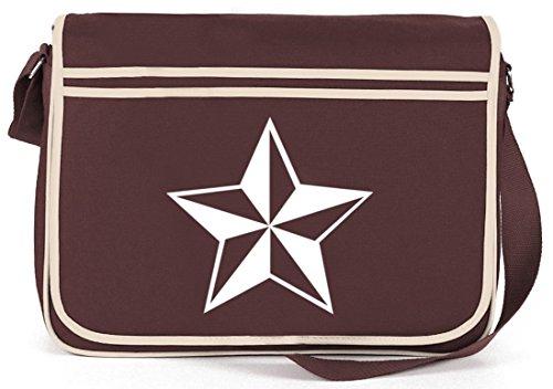 Shirtstreet24, Nautischer Stern, Nautic Nautical Retro Messenger Bag Kuriertasche Umhängetasche Braun
