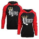 King & Queen Impression Hoodies Couple Sweatshirt À Capuche pour Femme Homme Manches Longues Sport...