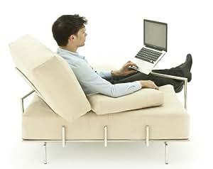 FRED - Fauteuil design pour ordinateur – Acier Inoxydable – Microfibre Ivoire.