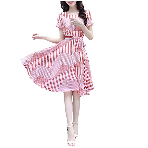 Komise Frauen Oansatz Verband Kurzarm Druck Knielanges Kleid(Rosa,M) -