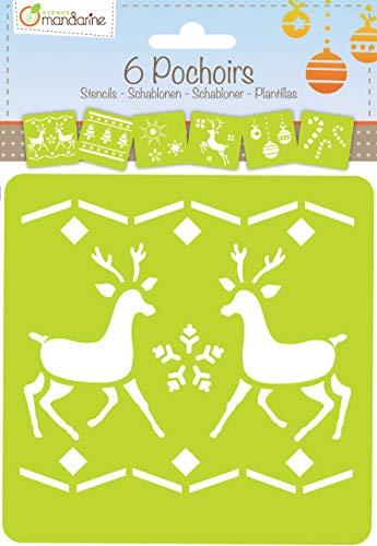 Avenue Mandarine 42647O Set (mit 6 Schablonen, 15 x 15 cm, geeignet für Kinder ab 3 Jahre, für Filz- und Farbstifte, Farben oder Farbbomben, Weihnachten 1) 6er Pack