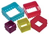 KitchenCraft Colourworks Plastic Plain and Fluted Square Cookie Cutters - Set of 5