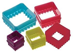 Colourworks Plastik-Keksausstecher 5Stk Vierecksdesign - mit Dose