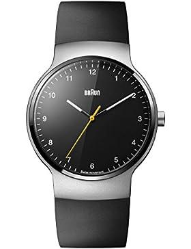 Braun Unisex-Armbanduhr BRAUN CLASSIC PRESTRIGE SLIM WATCH Analog Quarz Kautschuk BN0221BKSLBKG